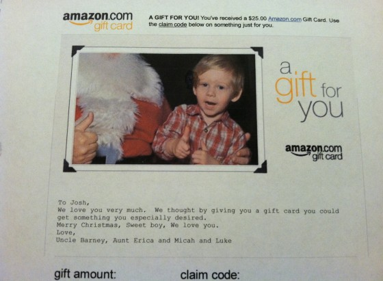 Amazon make a personalized gift card in 1 minute fabulessly frugal go here to order a personalized amazon gift card negle Images