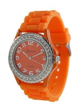 orange geneva silicone watch