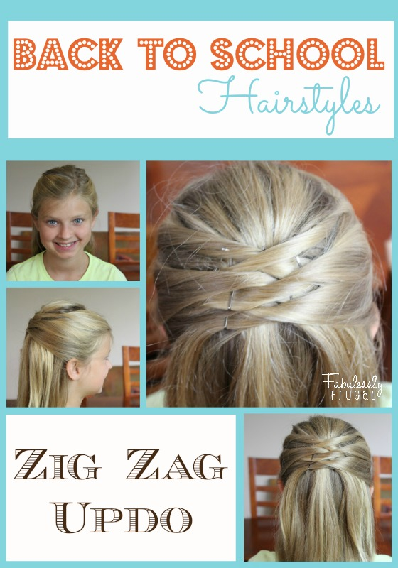 Back to School Hairstyles - Zig Zag Updo - Fabulessly Frugal