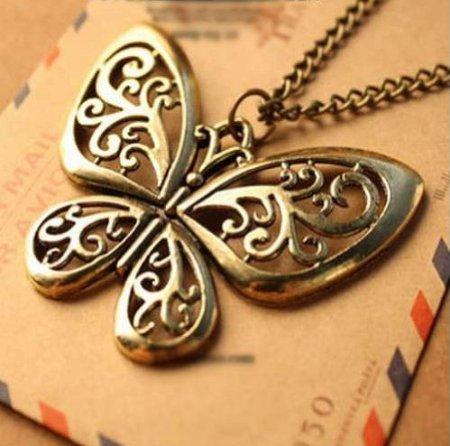 Lingstar(TM) Retro Classic vintage Bronze butterfly pendant necklace chain