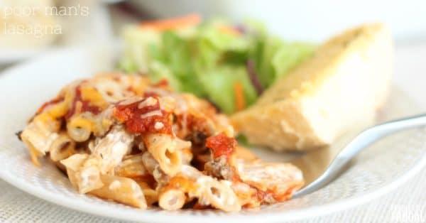 poor man's meal - easy lasagna recipe