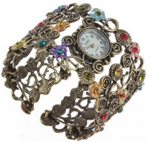 YKS Fashion Lady Women Girl Crystal Vintage Bangle Bracelet Quartz Wrist Watch Gifts