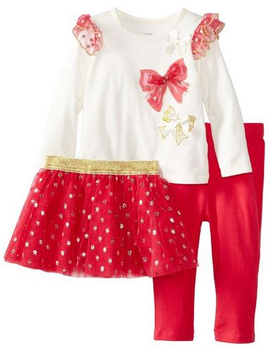 Vitamins Baby Baby-Girls Infant Sparkle And Bows 3 Piece Skirt Legging Set