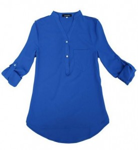 Lovaru Women's V-neck Chiffon Elegant Casual Shirt Blouse blue