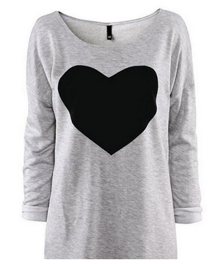 Heart Printed Long Sleeved Round Neck T-Shirt