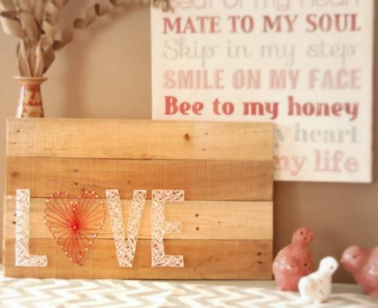 valentine's day love yarn string art pallet decor