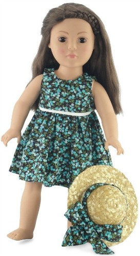 18 Inch Doll Floral Dress Outfit Fits 18 American Girl Dolls Includes Straw Hat Accessories