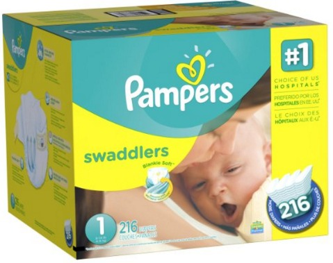 Pampers Swaddlers Diapers Size 1 Economy Pack Plus, 216 Count 2016
