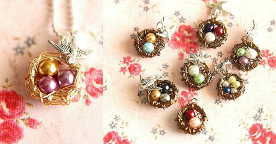 Mama Bird Wire Nest Necklace