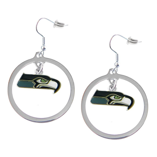Seattle Seahawks Charm Hoop Earrings