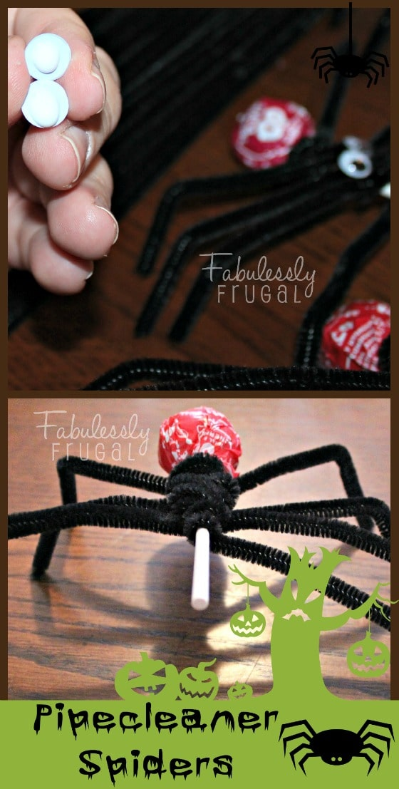 Pipecleaner Spiders Attach Eyes