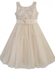 Girls Dress Shinning Sequins Beige Tulle Layers Wedding Pageant Size 2-10