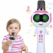 Wireless Bluetooth Karaoke Microphone for Kids with LED Lights Just $9.99...