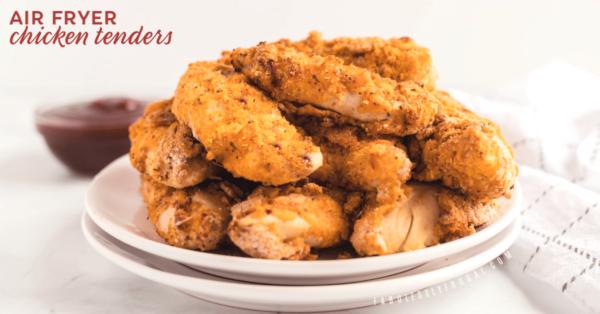 Air fryer chicken tenderloins on plate